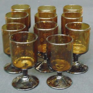 11 Hand Made, Amber Glass, Stemmed Tumblers