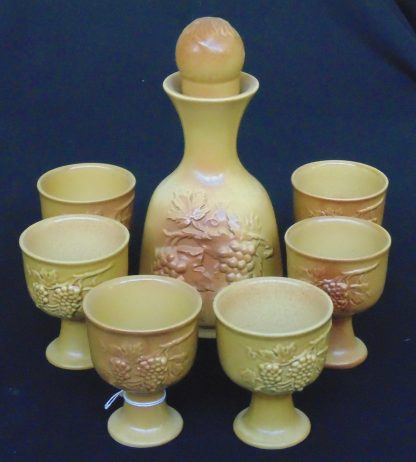 Stone Ware, Decanter and 6 Goblets