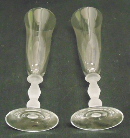 2 Champaign Flutes, Glass, one with small chip