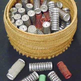 Lot of 1960s, Hair Curlers, in Cane Basket