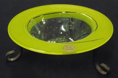 Sherly Glassmith, Yellow Art Glass Bowl on stand