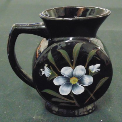 Pottery, Jug, Painted, Black with Flowers