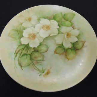 Hand Painted, Wall Plate, White Flowers, F. Stepheiy