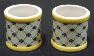 2 Napkin Rings, Porceline White Yellow and Black Matrix