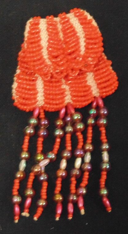 Orange Beaded Coin Pouch