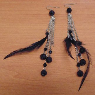 Black Bead and Feather Ear Rings