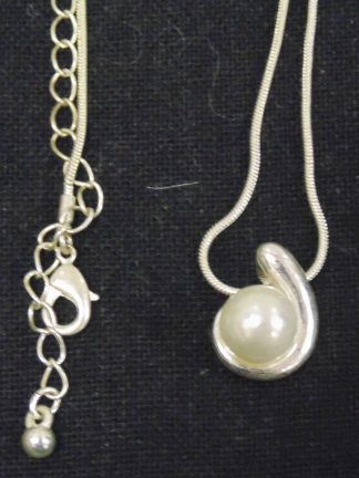 White Ball Pendant on Necklace