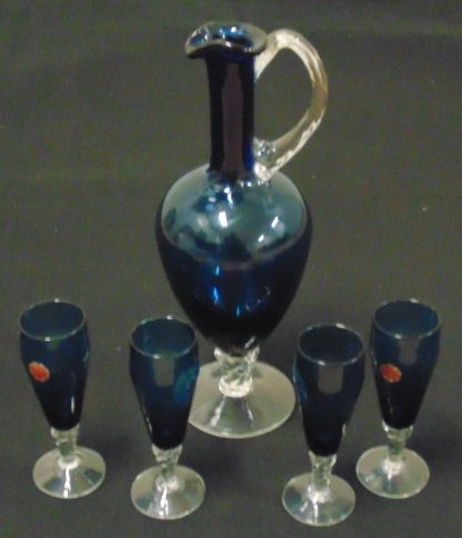 Blue Glass Decanter and 4 Glasses made in Italy