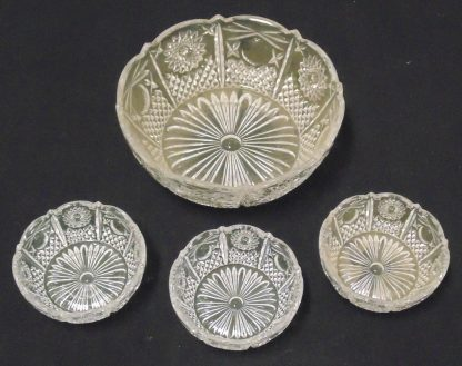 Large Glass bowl and 3 smaller bowls