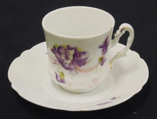 Porcelain Cup and Saucer, Purple Flowers