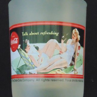 Frosted Coca-Cola Glass Tumbler, 2 Ladies in Swimsuit