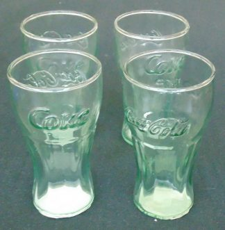 4 Small Classic Coca-Cola Green Glasses
