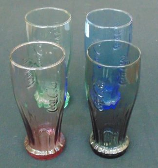 4 Classic Coca-Cola Colored Glasses