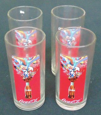 4 Coca-Cola Glasses Red Retro Hi-Ball
