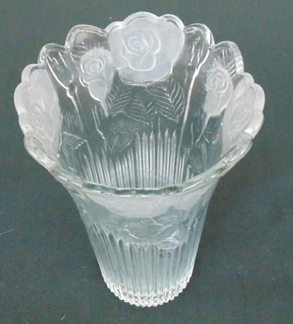 Tall Glass Flower Frosted Vase