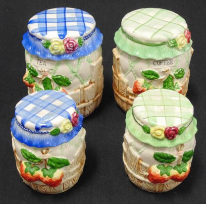 Tea Coffee and Sugar Canisters with Strawberries