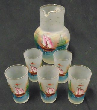 Hand made Glass Jug with 5 Tumblers with Boat painting