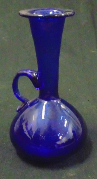 Cobalt Blue Glass Handled Vase Hand Made