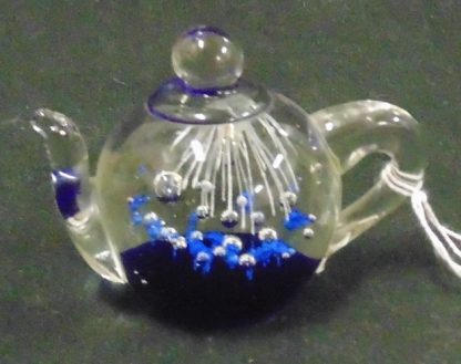 Blue and Clear Glass Tea Pot Paper Weight