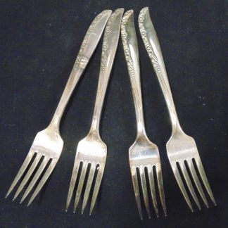 4 Fascination Silver Plate Forks