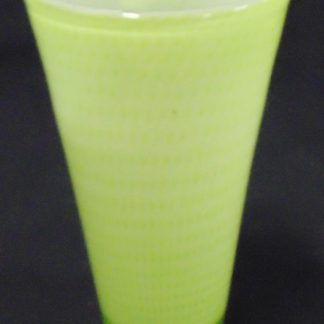 Yellow Lime Glass Vase Engraved with Makers Name