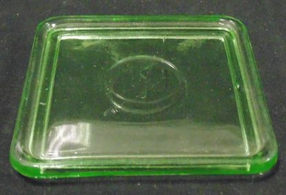 Square Green Glass Butter Dish Lid