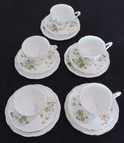 5 Royal Adderley Fine Bone China Cup Saucer and Plate 1704