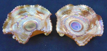 2 Carnival Glass Bowls with fish and pattern