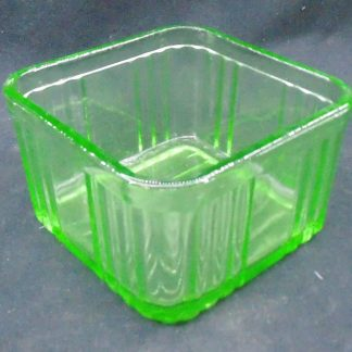 Square Green Glass Butter dish no lid
