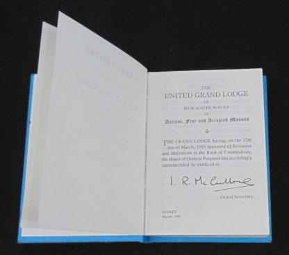 1991 United Grand Lodge of NSW Constitutions